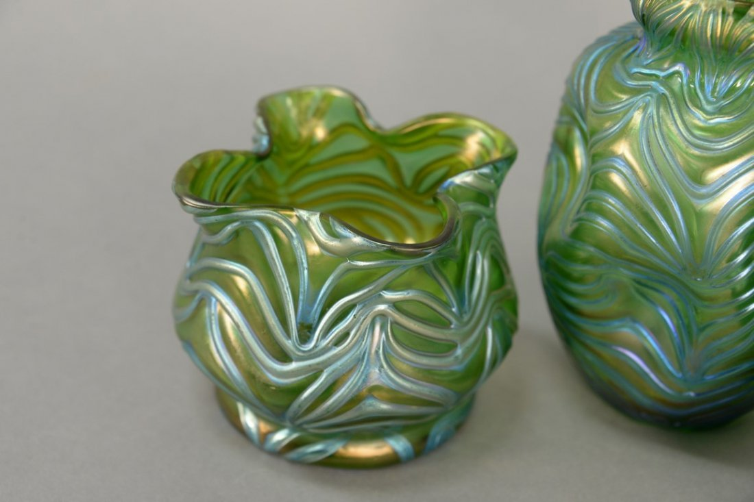 Three Loetz art glass vases to include a green oil spot - 2