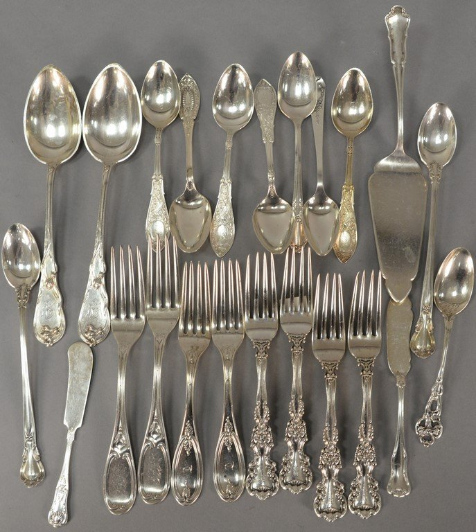Silver lot with spoons and forks including two Tiffany