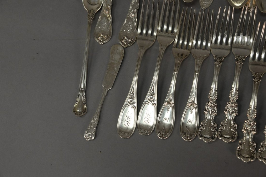 Silver lot with spoons and forks including two Tiffany - 5