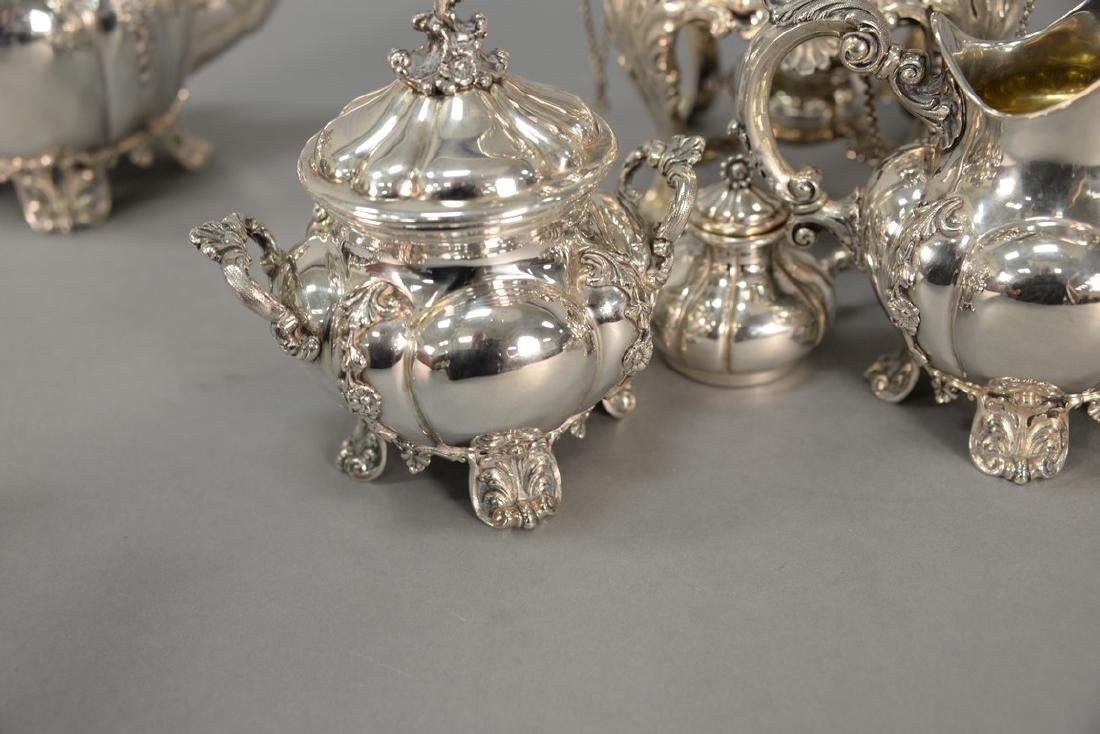 Six piece sterling silver tea and coffee marked Tutunzi - 14