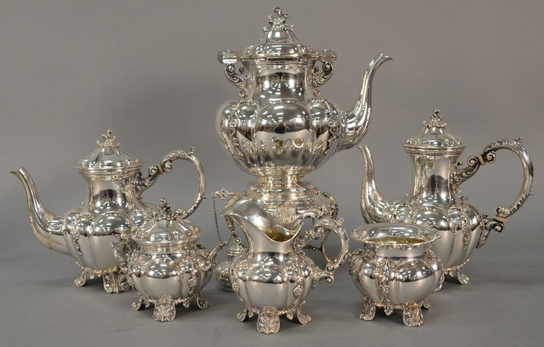 Six piece sterling silver tea and coffee marked Tutunzi