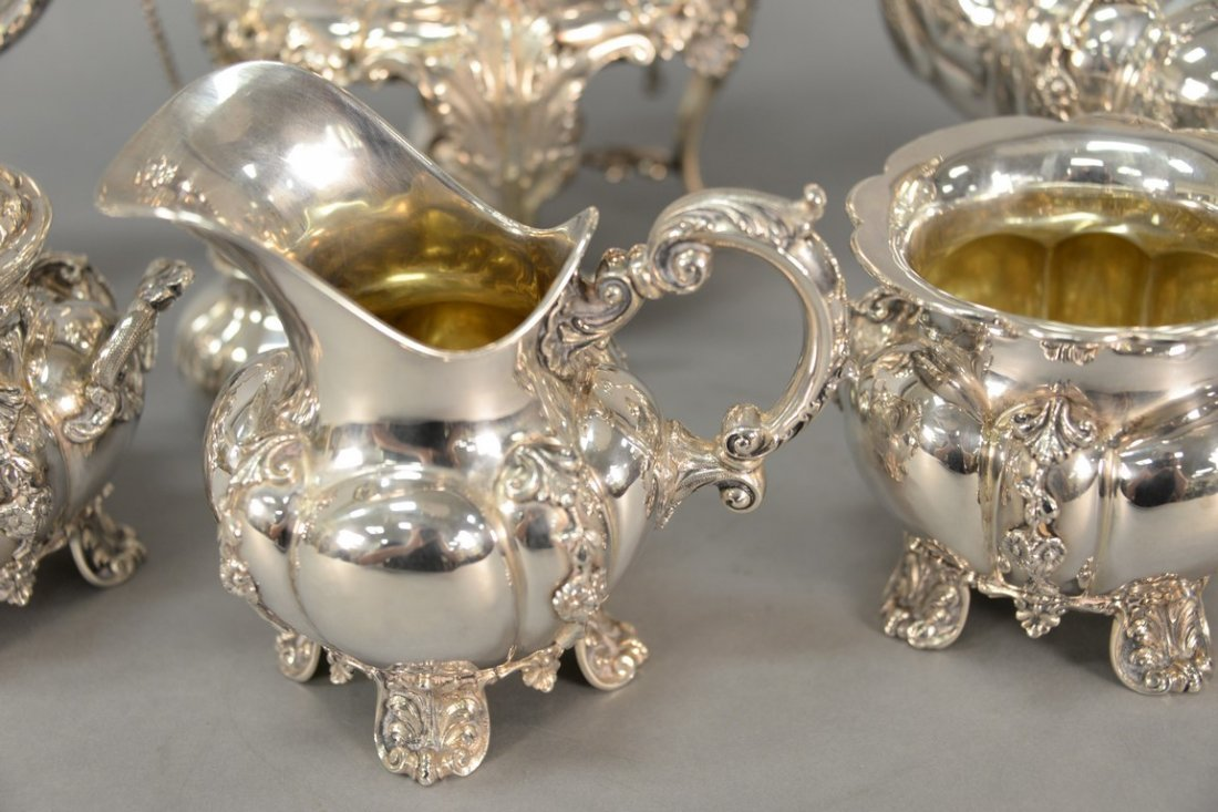Six piece sterling silver tea and coffee marked Tutunzi - 6