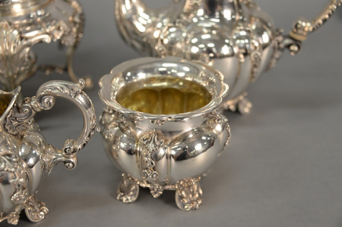 Six piece sterling silver tea and coffee marked Tutunzi - 7