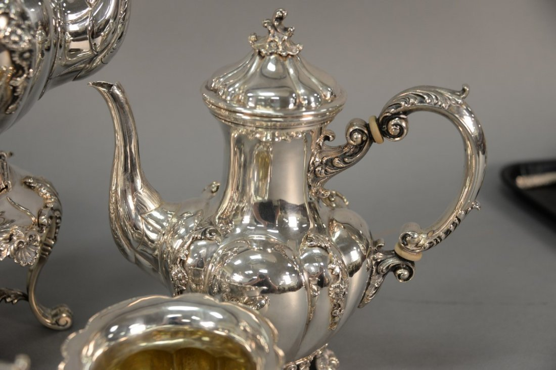 Six piece sterling silver tea and coffee marked Tutunzi - 8