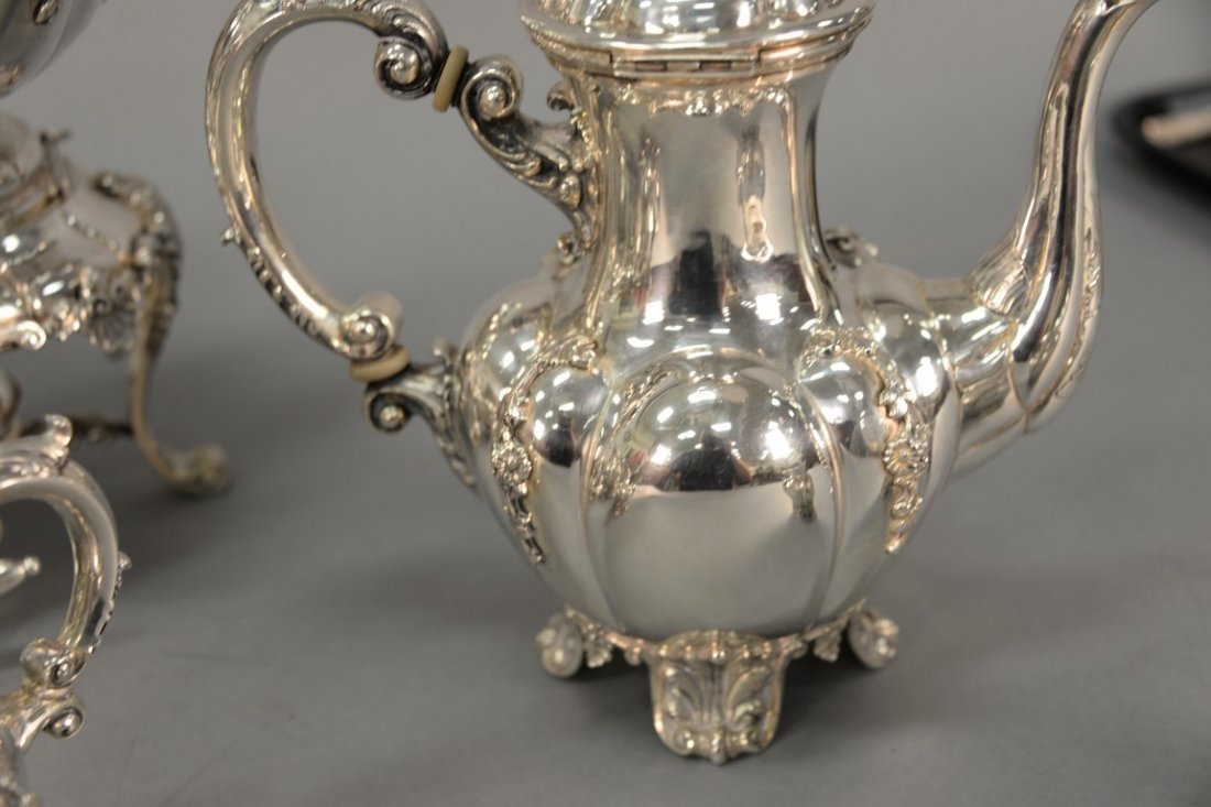 Six piece sterling silver tea and coffee marked Tutunzi - 9