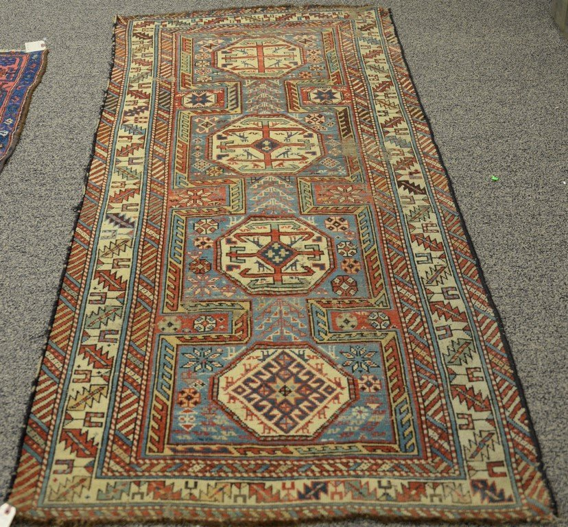 "Caucasian Oriental runner.  3'5"" x 7'7""  (some wear)"