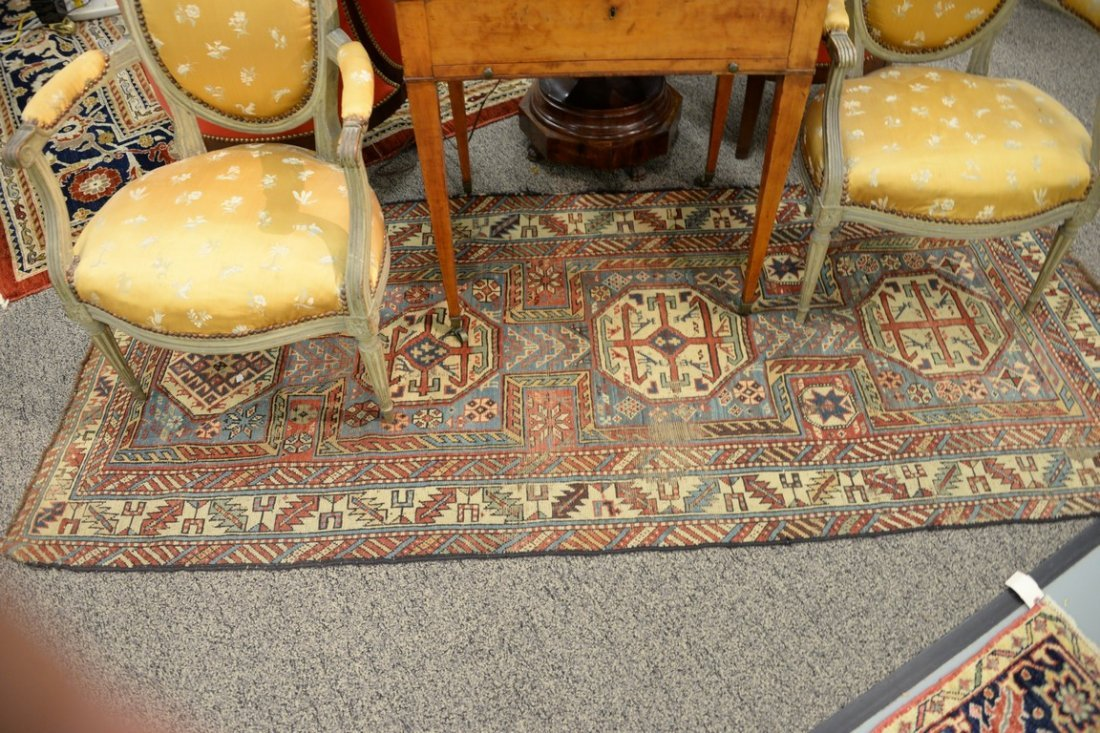 "Caucasian Oriental runner.  3'5"" x 7'7""  (some wear) - 2"