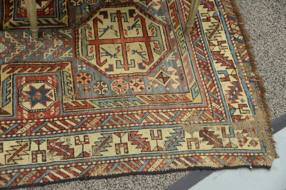 "Caucasian Oriental runner.  3'5"" x 7'7""  (some wear) - 3"