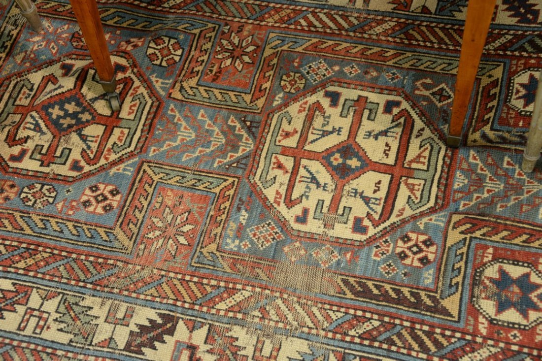 "Caucasian Oriental runner.  3'5"" x 7'7""  (some wear) - 4"