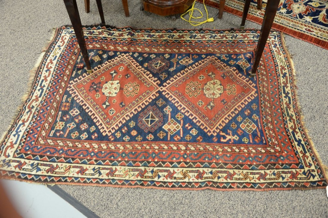 "Caucasian Oriental throw rug.  4' x 5'8"" - 5"