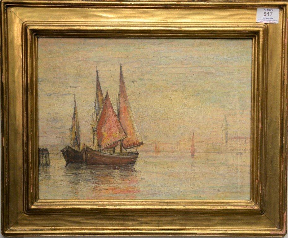 19th Century Venetian oil on panel  Scene with Sun