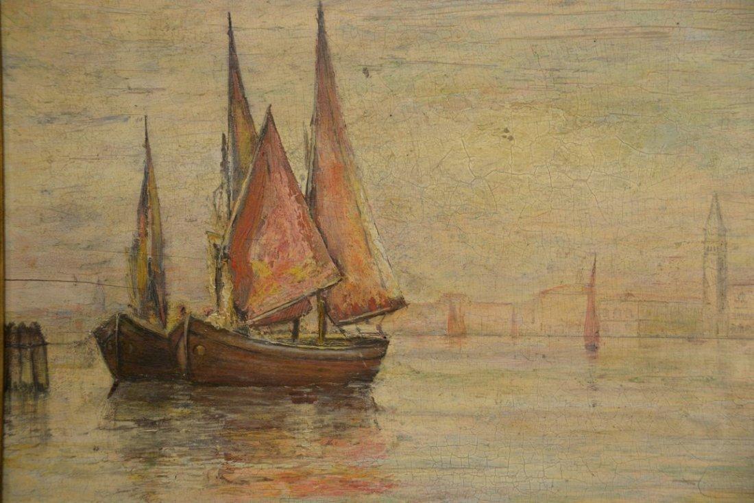 19th Century Venetian oil on panel  Scene with Sun - 2