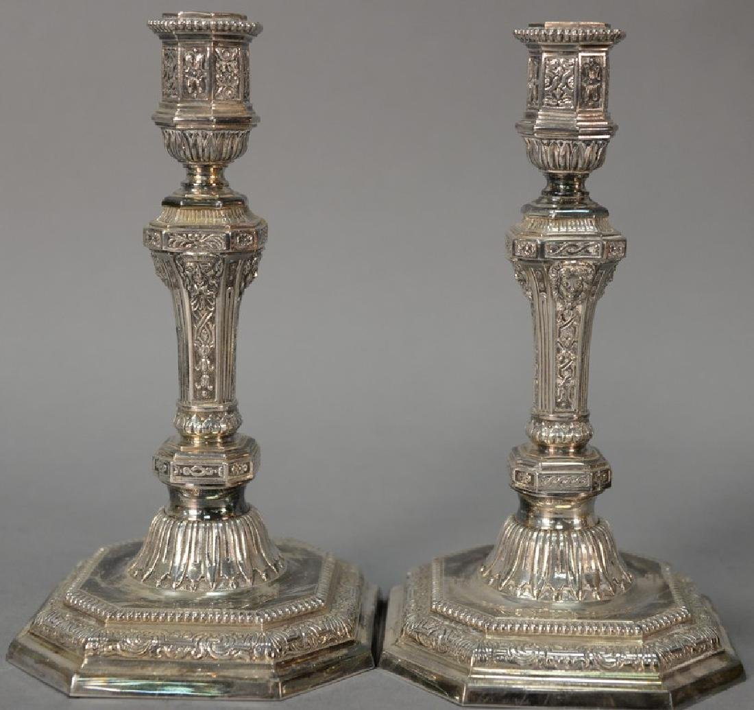 Pair of Christofle silverplated French candlesticks