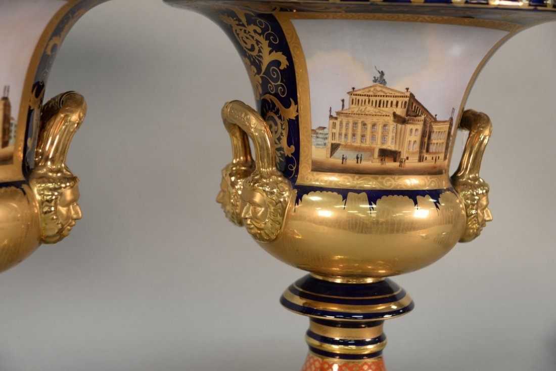 Pair of reproduction urns, gilt decorated with large - 2