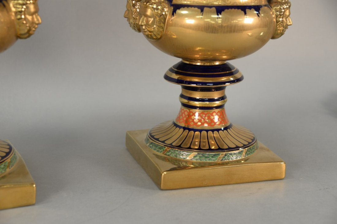 Pair of reproduction urns, gilt decorated with large - 3