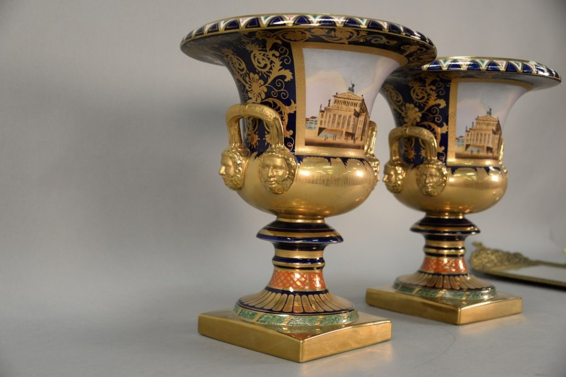 Pair of reproduction urns, gilt decorated with large - 4