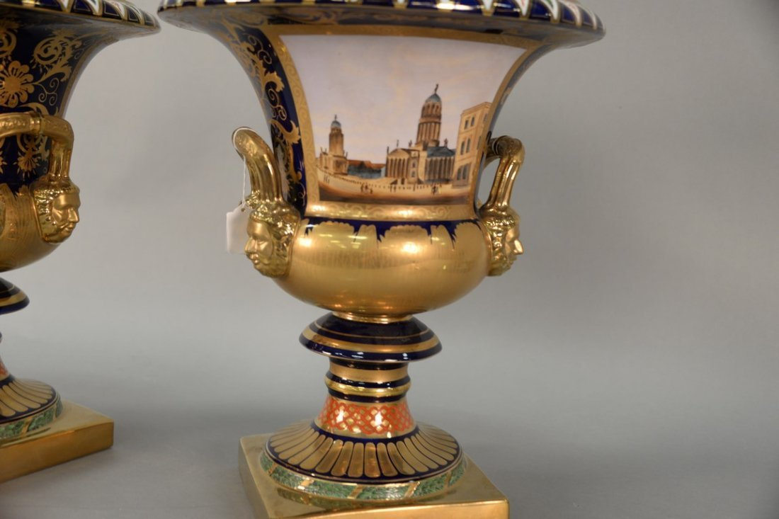 Pair of reproduction urns, gilt decorated with large - 5