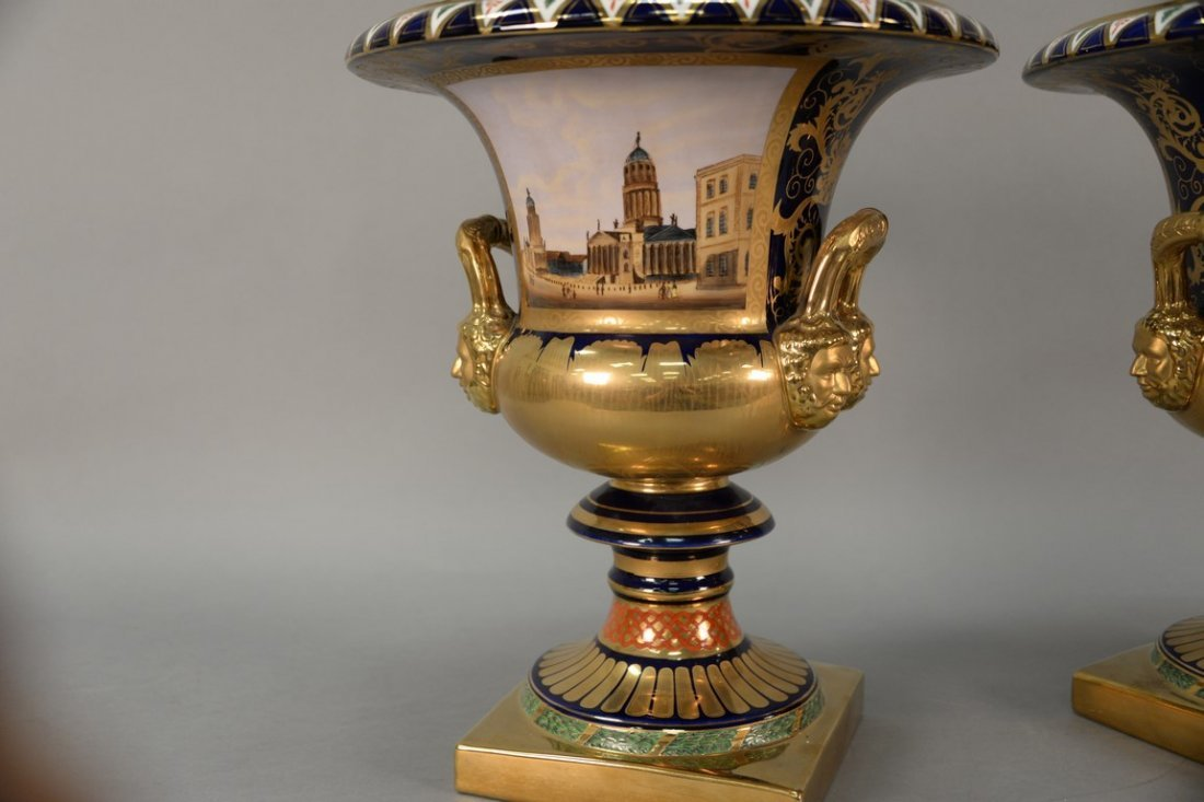 Pair of reproduction urns, gilt decorated with large - 6