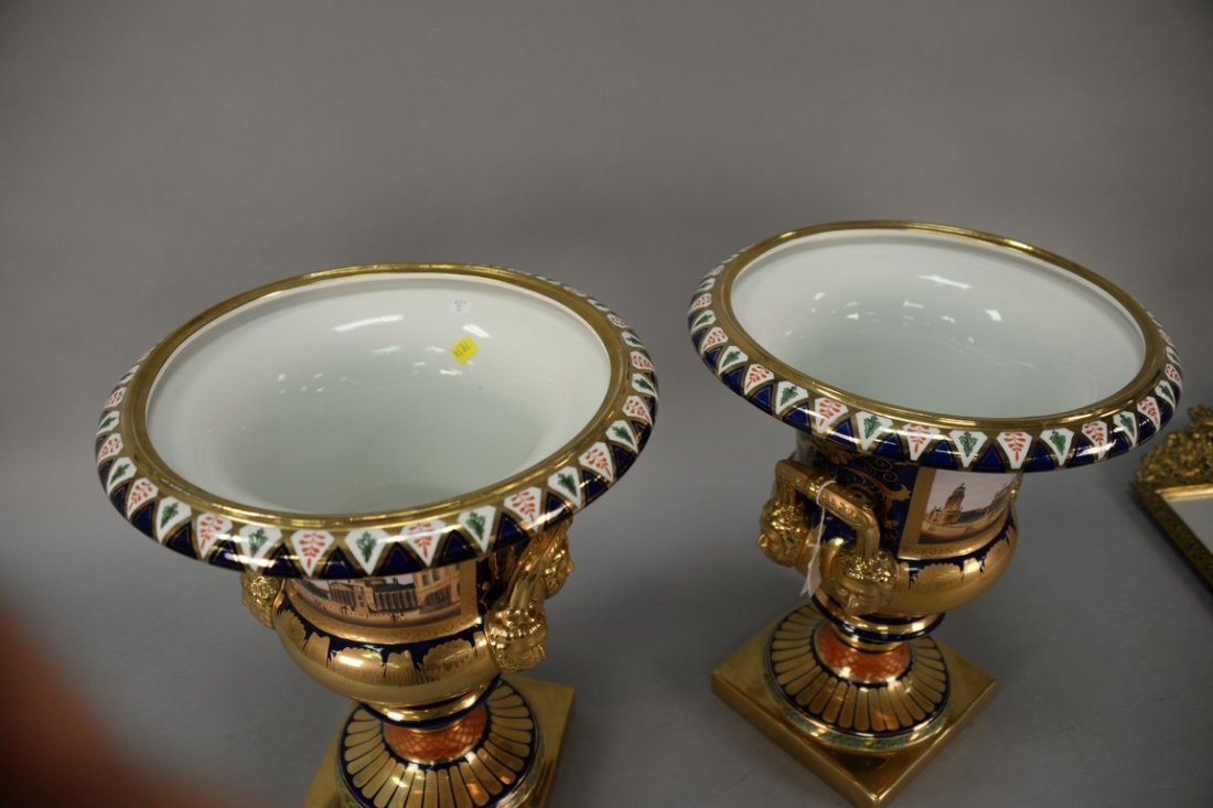 Pair of reproduction urns, gilt decorated with large - 7