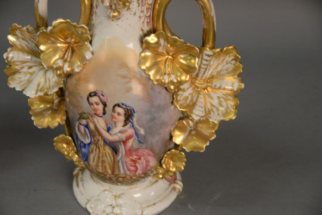 Pair of Victorian large French porcelain vases, each - 12