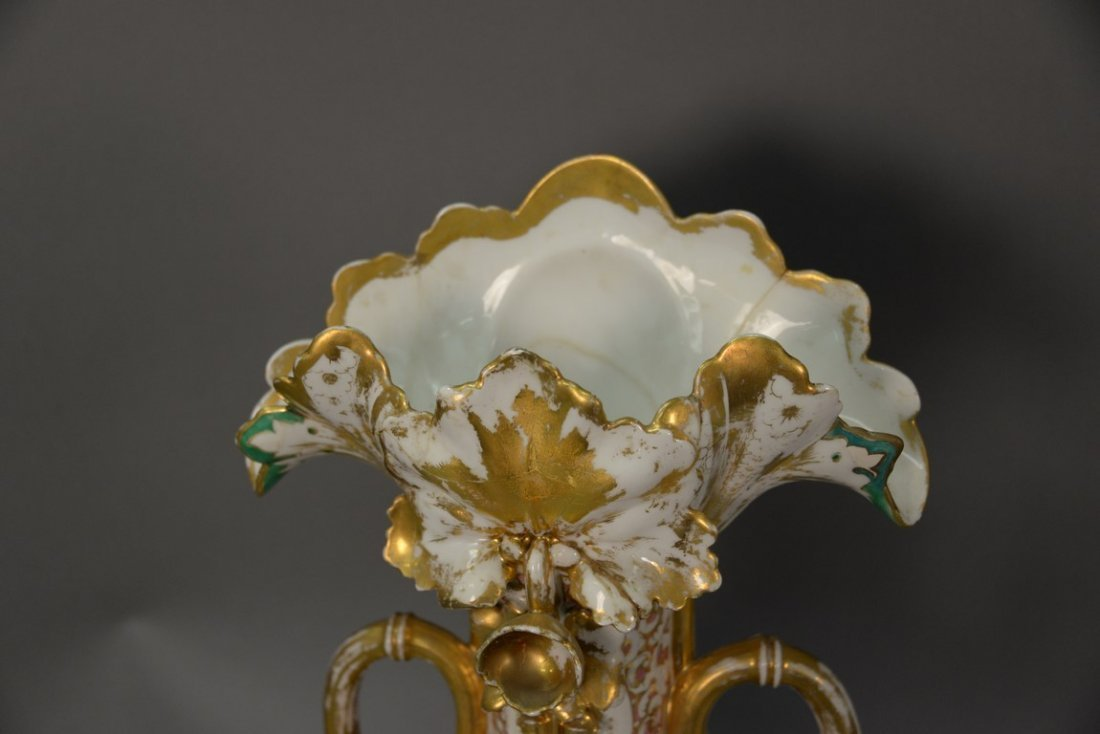 Pair of Victorian large French porcelain vases, each - 5