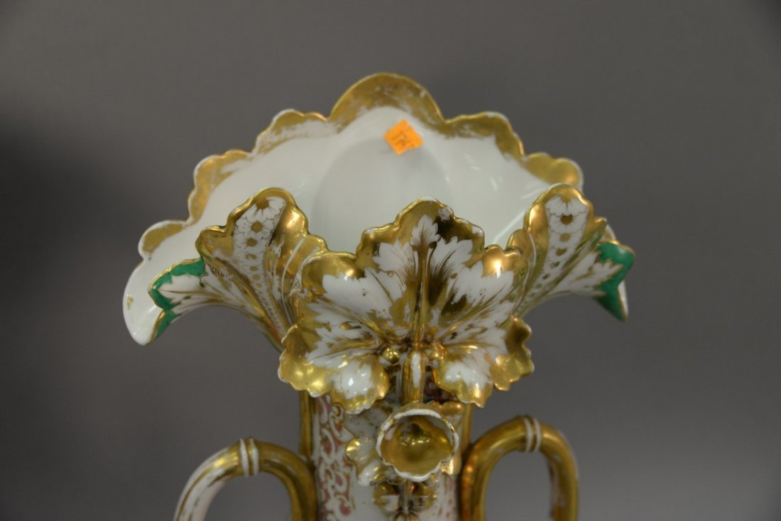 Pair of Victorian large French porcelain vases, each - 6