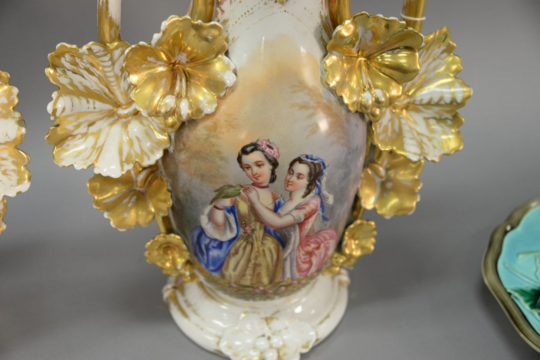 Pair of Victorian large French porcelain vases, each - 7