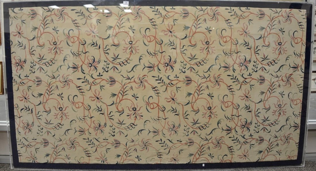 Textile panel with embroidered floral designs, probably