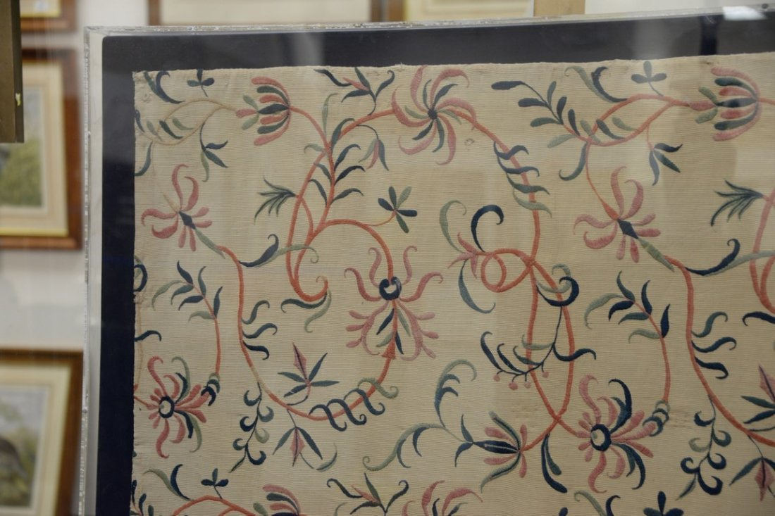 Textile panel with embroidered floral designs, probably - 2
