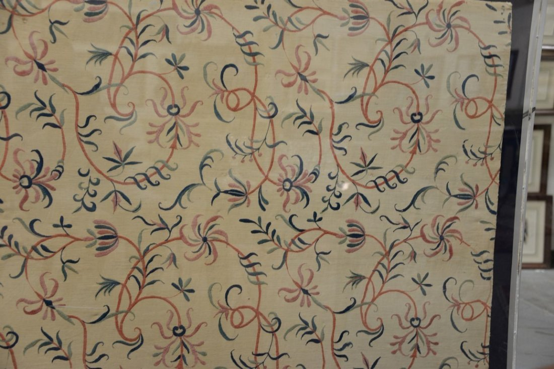 Textile panel with embroidered floral designs, probably - 6
