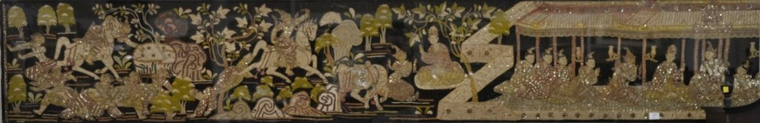 Textile panel with applied figure with sequins, pearls