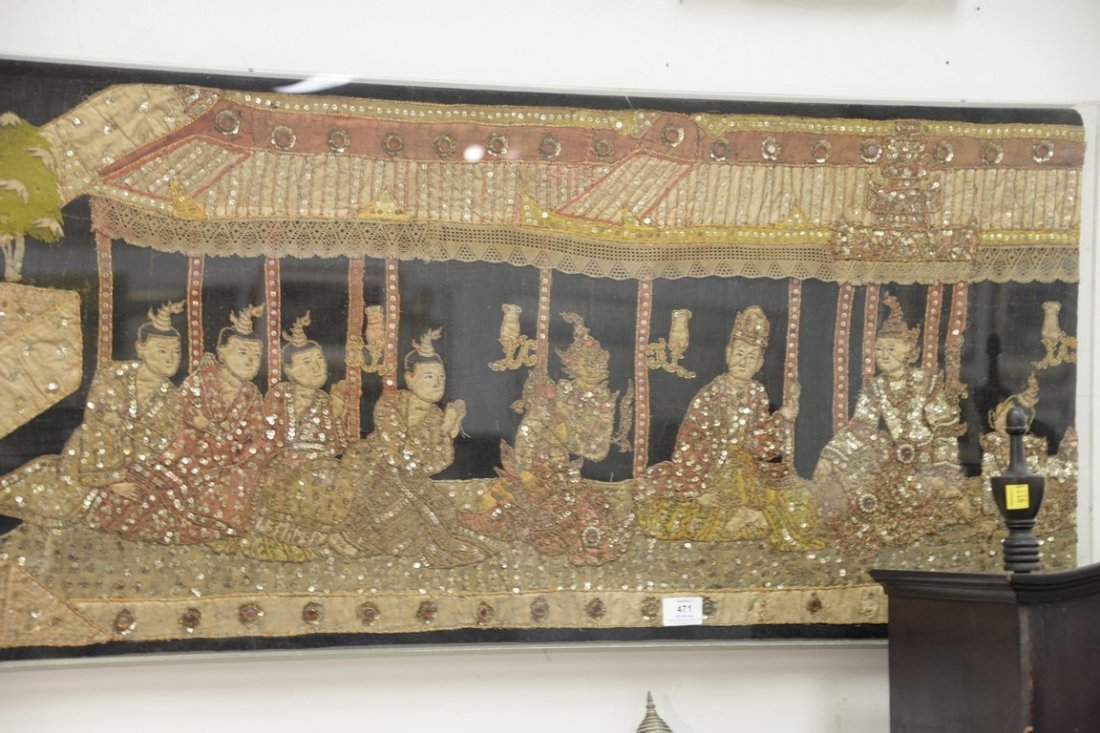 Textile panel with applied figure with sequins, pearls - 5