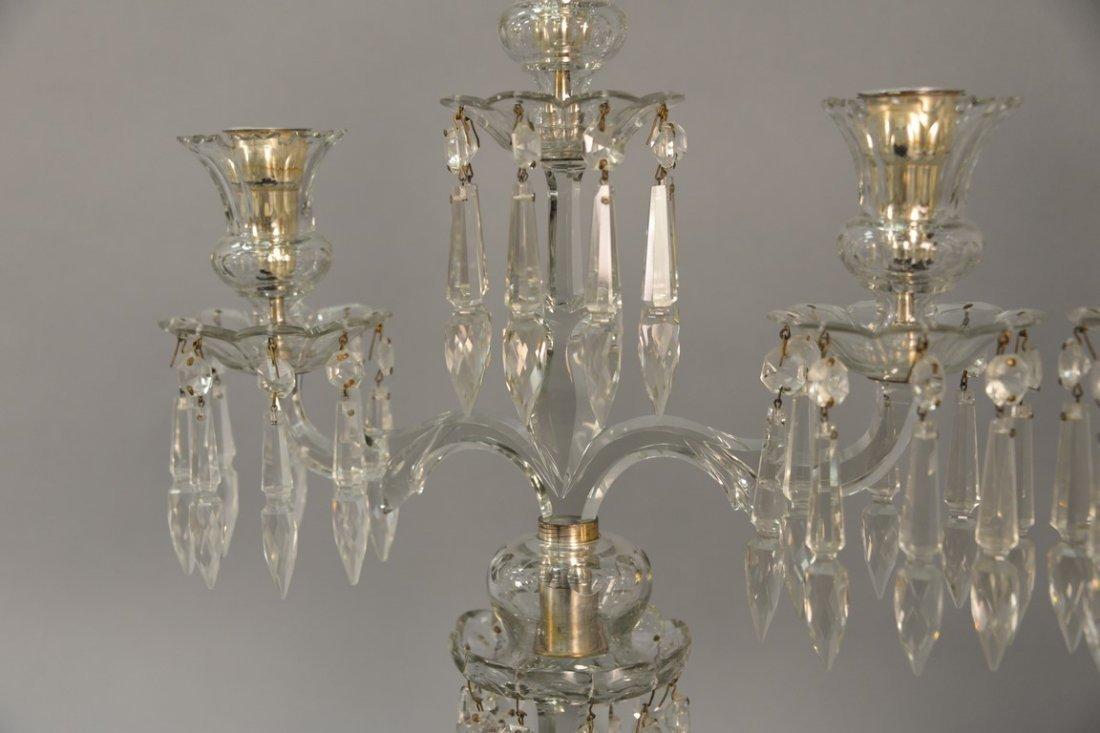 Pair of Anglo Irish crystal candelabra having three - 4