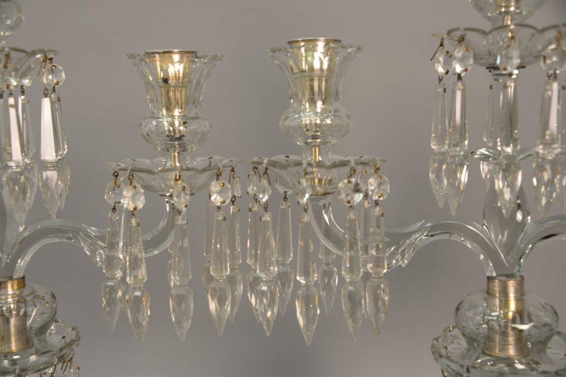 Pair of Anglo Irish crystal candelabra having three - 6