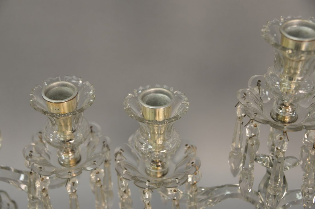Pair of Anglo Irish crystal candelabra having three - 7
