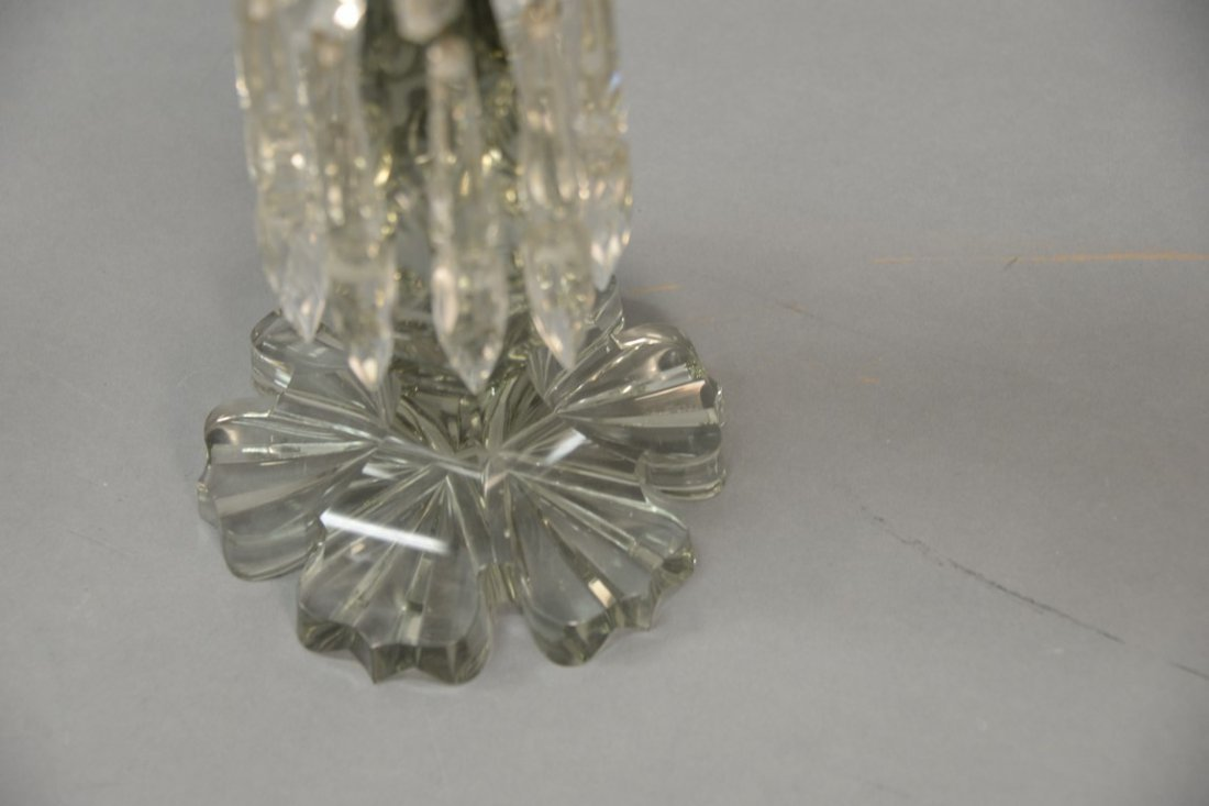 Pair of Anglo Irish crystal candelabra having three - 8