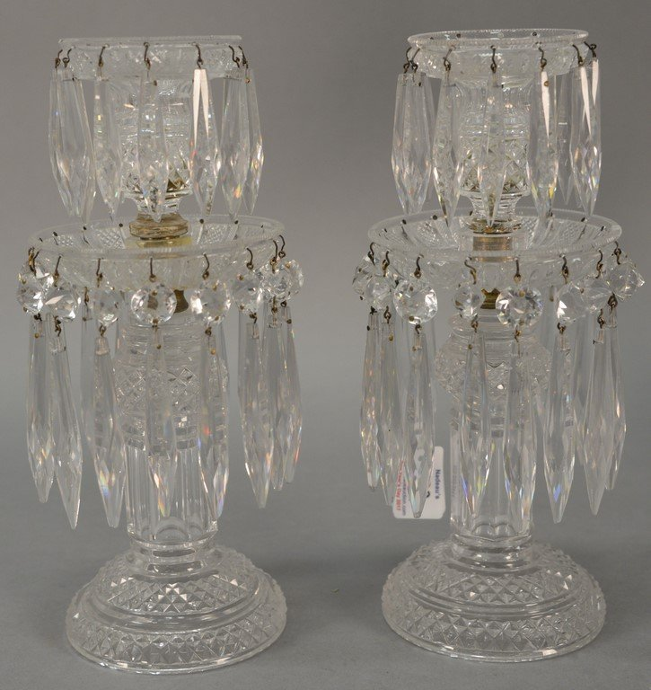 Pair of Anglo Irish Regency crystal candle sticks.
