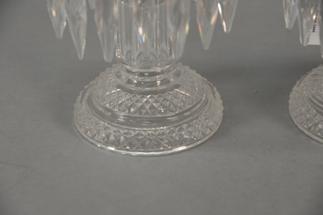Pair of Anglo Irish Regency crystal candle sticks. - 2