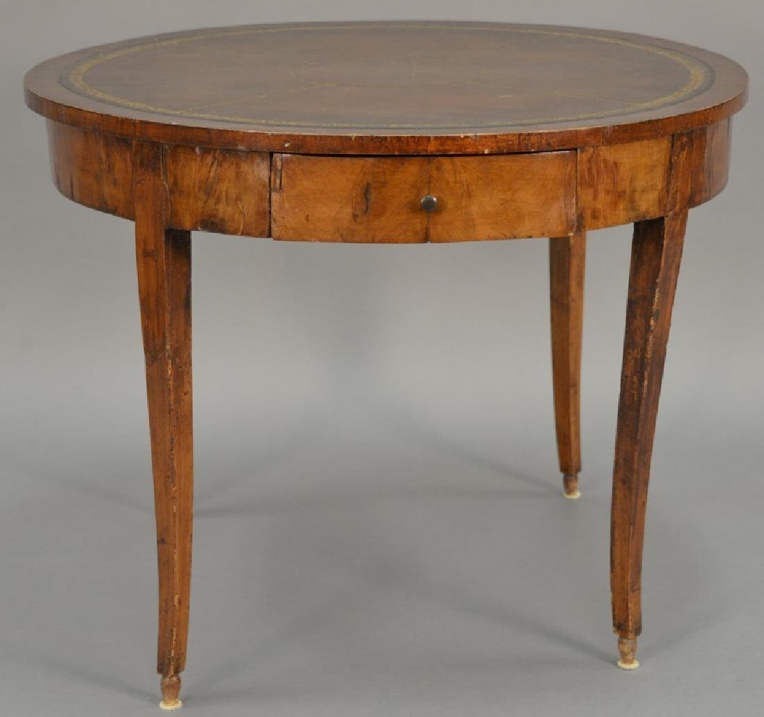 George III mahogany center table with leather top and