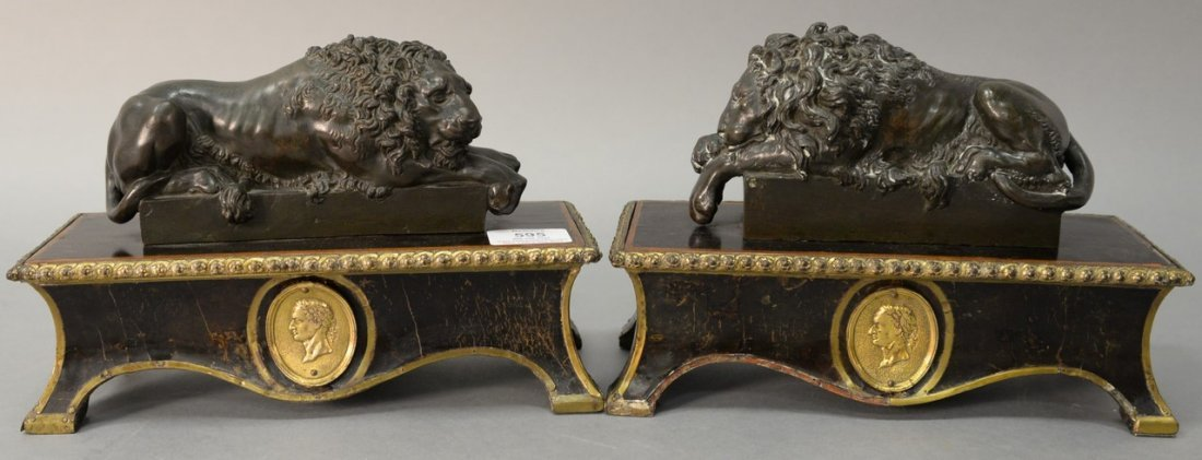 After Guiseppe Boschi (1760-1821)  two bronzes  Lion