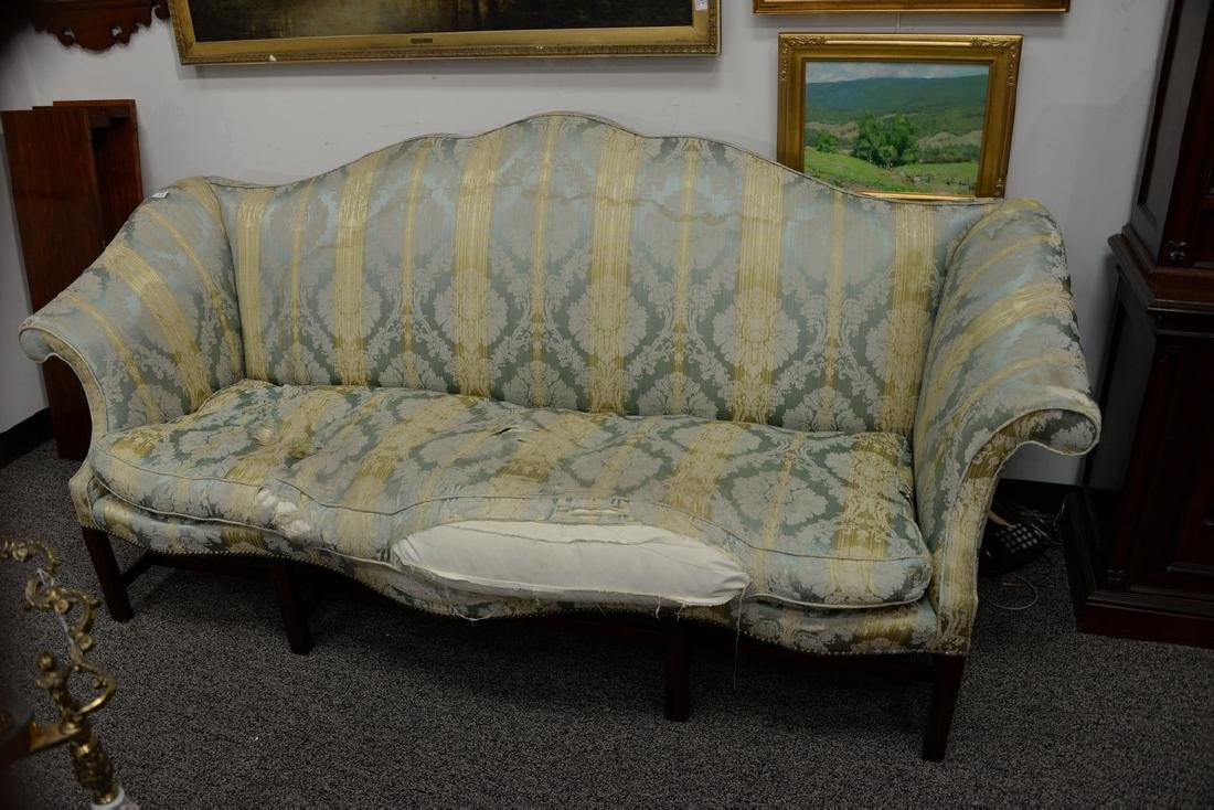 George II sofa having shaped camel back and rolled arms - 2