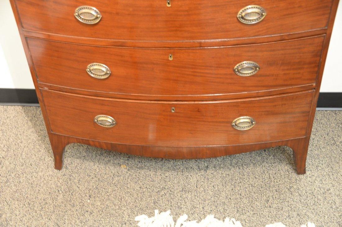 English mahogany bow front chest having rectangular top - 4