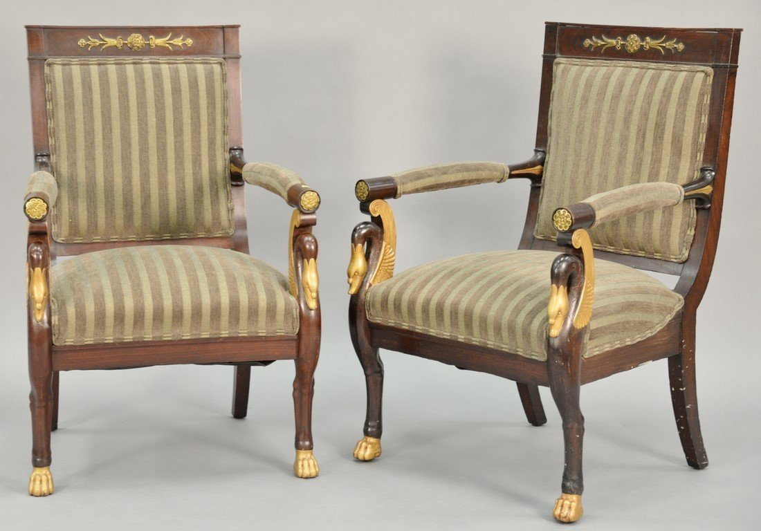 Pair of Continental mahogany armchairs with metal