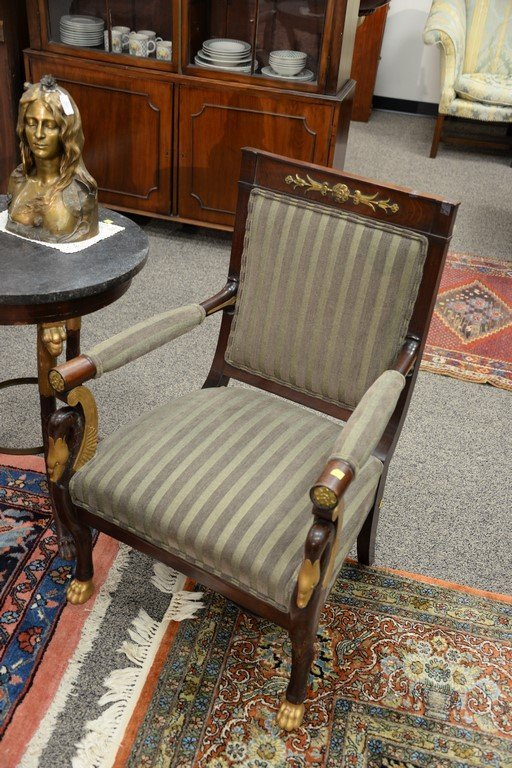 Pair of Continental mahogany armchairs with metal - 2