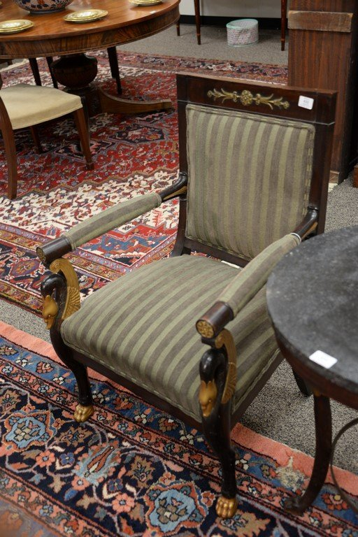 Pair of Continental mahogany armchairs with metal - 3