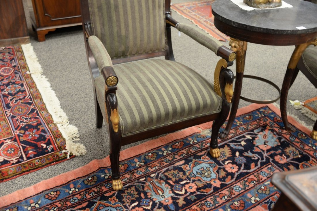 Pair of Continental mahogany armchairs with metal - 4