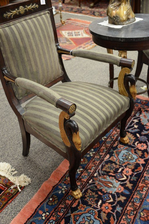 Pair of Continental mahogany armchairs with metal - 5