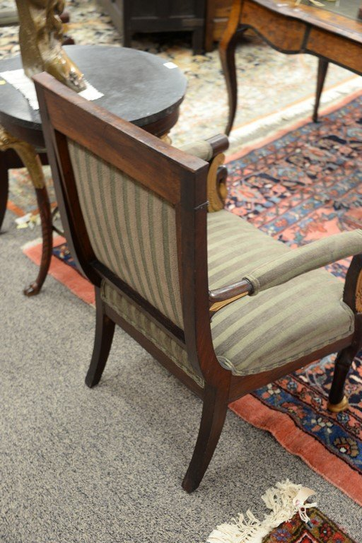 Pair of Continental mahogany armchairs with metal - 6
