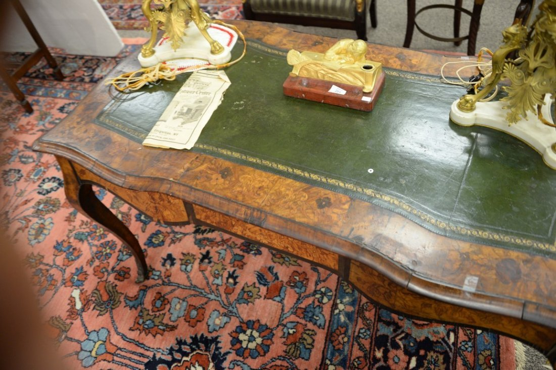 Louis XV style writing table having shaped top with - 3