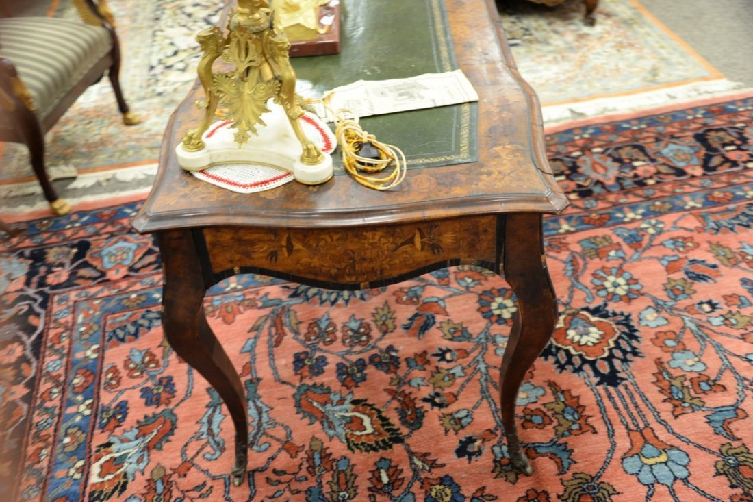 Louis XV style writing table having shaped top with - 5